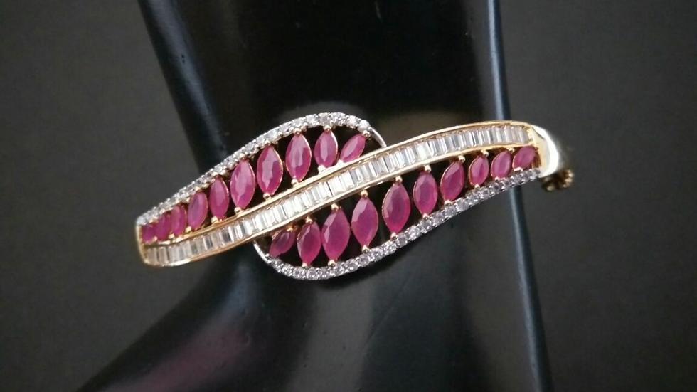 Red coloured American Diamond Stones studded,beautifully designed bracele