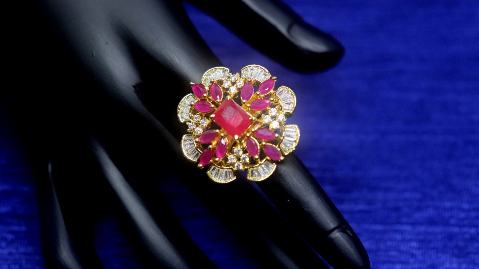 Ruby red coloured American Diamond finger rings with an year warranty