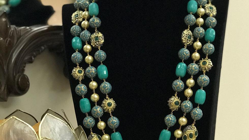 Ruby & Emerald Studded Stone 3 Layered Long Mala Set