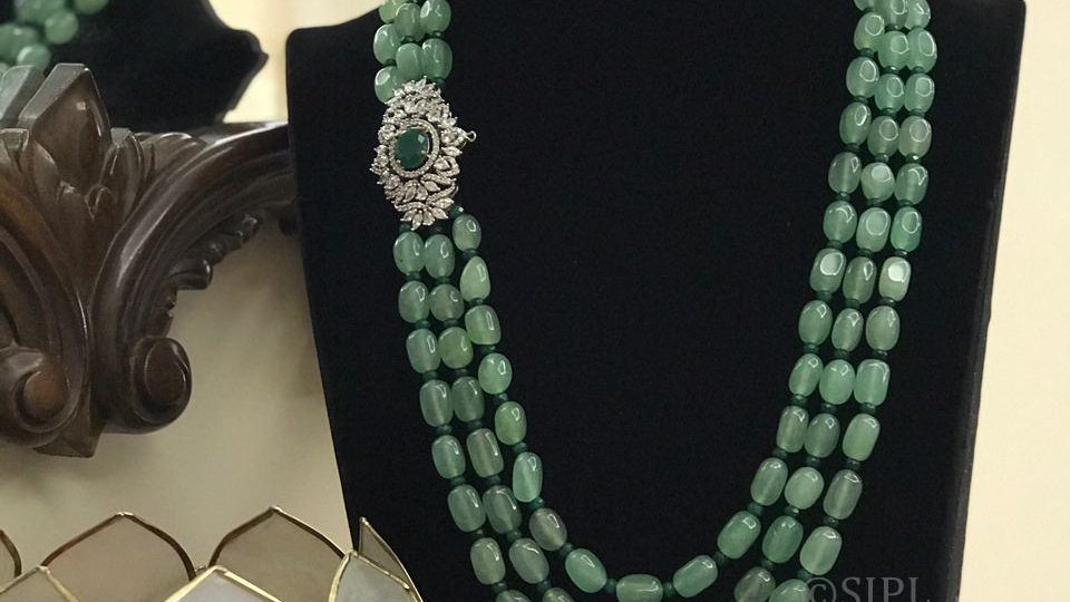 Beautiful American Diamond Necklace set with Tumble Beads