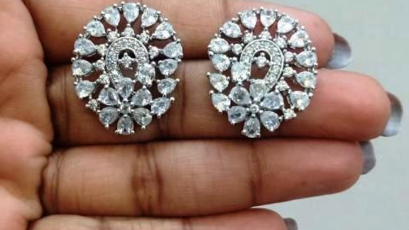 Elegant Pure Cubic Zircon(American Diamond) stud with warranty
