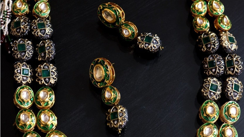 Green Coloured American Diamond Studded Kundan Necklace set
