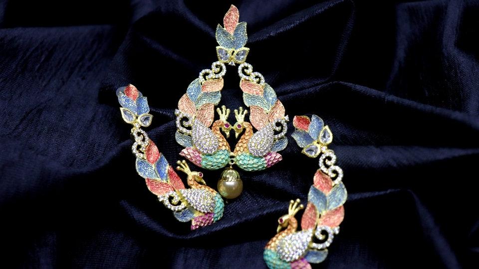 Peacock Shaped American diamond Pendant set with warranty