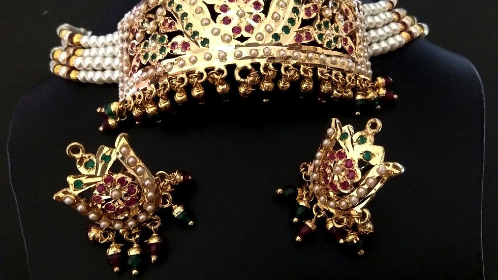 Gold Plated Necklace set Studded with American Diamond stone