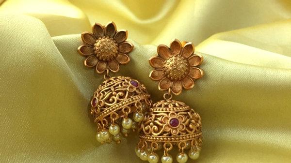 1 gram gold plated jhumki red studded stones