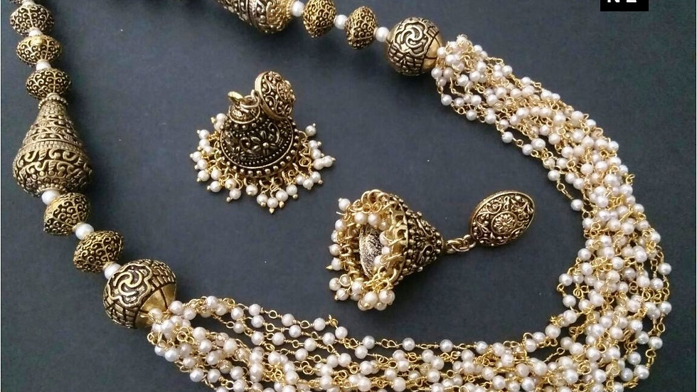 Long Gold plated Necklace set with warranty
