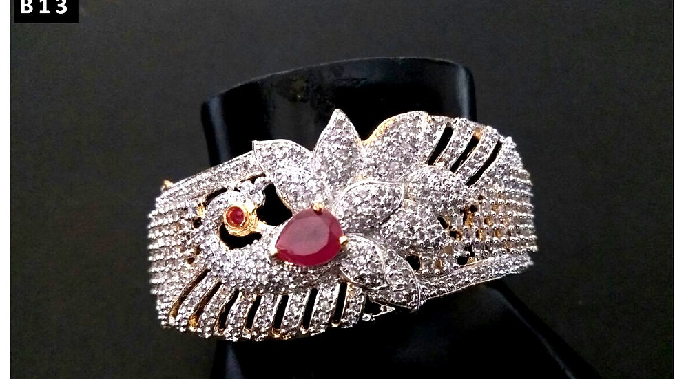 Red coloured American Diamond Stone studded,beautifully designed bracelet/kada