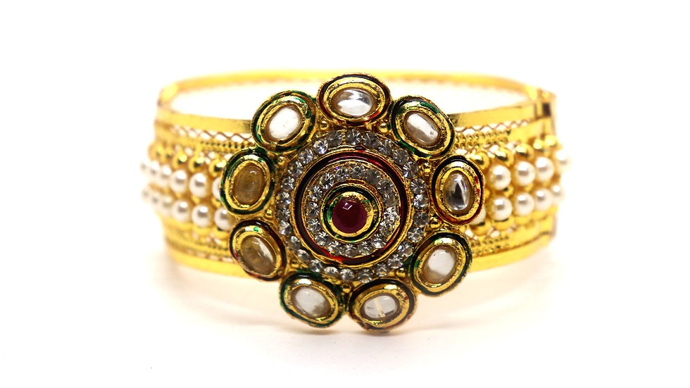 Gold plated Kada,studded with American Diamond And Kundan Stones