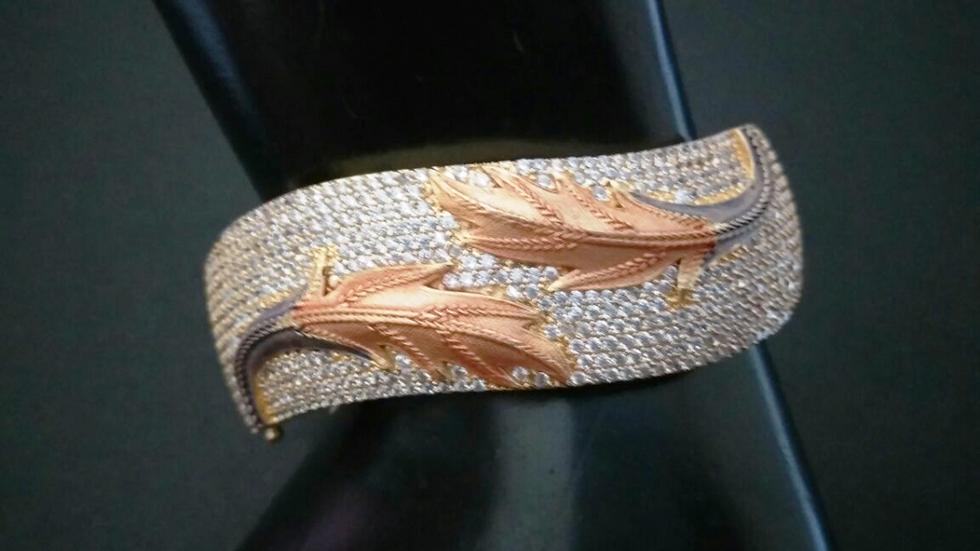 Leaf engrossed designed American Diamond Kada with warranty
