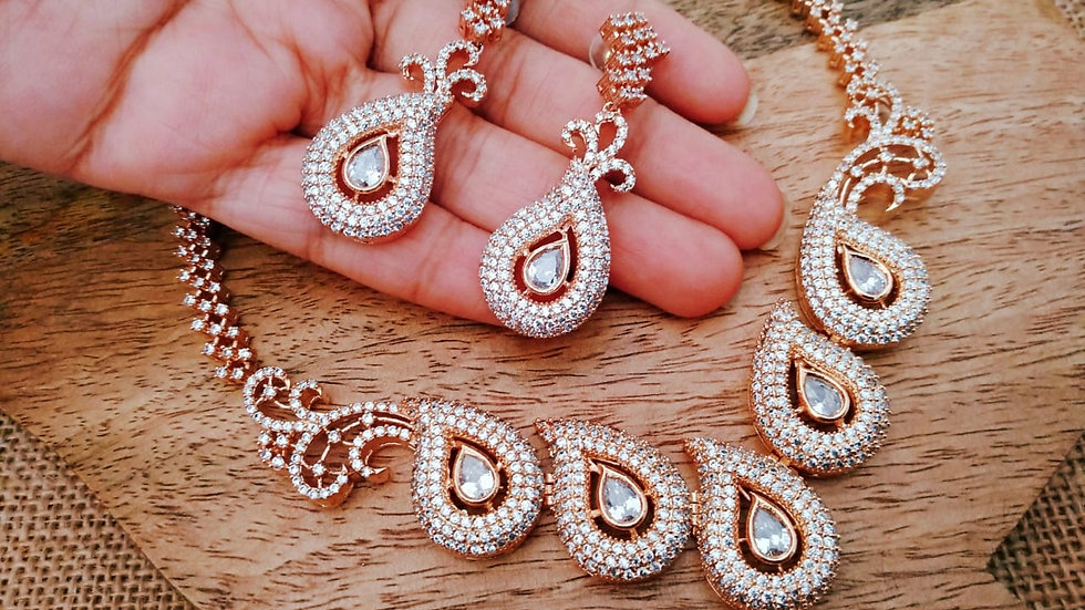 American Diamond Necklace Set with warranty
