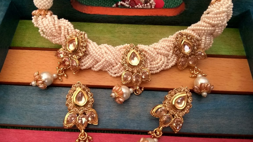 Kundan and Semi Precious beads studded necklace set with warranty