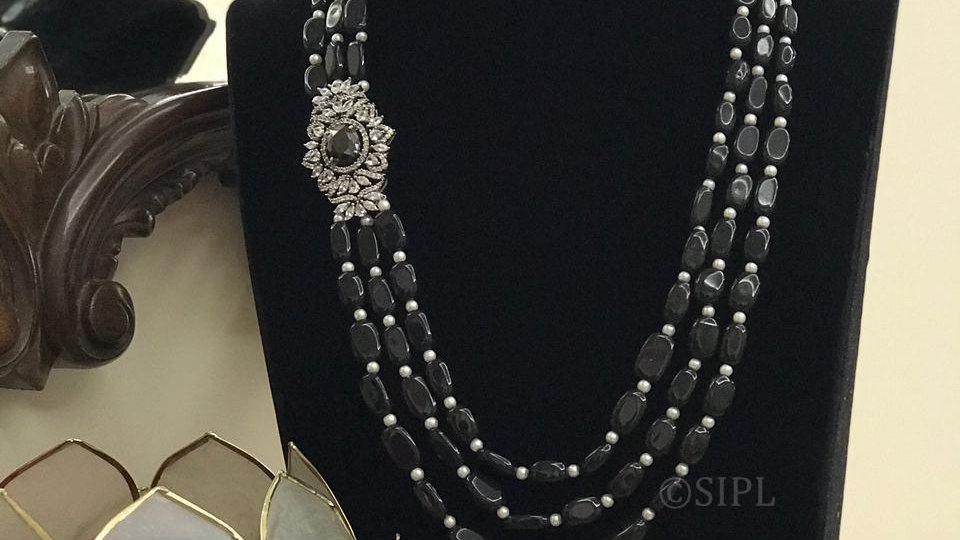 Beautiful American Diamond Necklace set with Tumble Beads