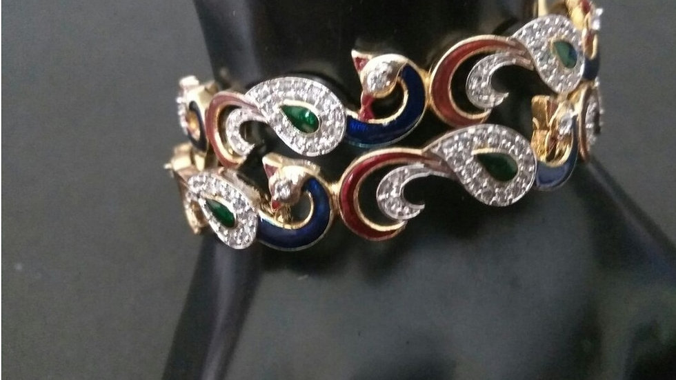 Peacock designed American diamond and hand-painted bangle set