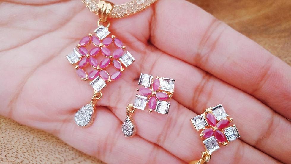 Premium quality American Diamond / Cubic zircon Pendant set