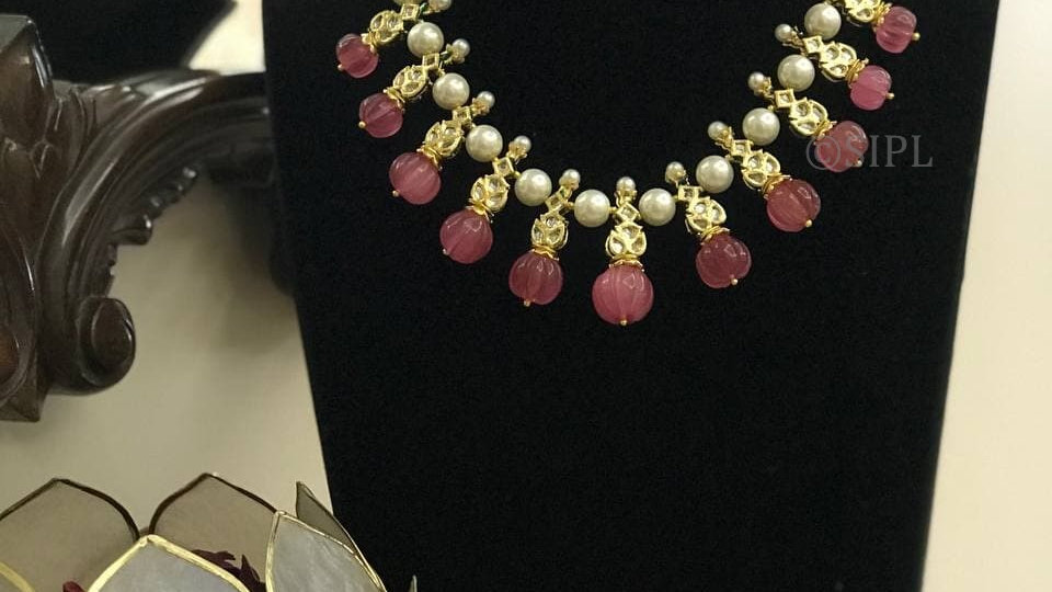 Nizam Collection Inspired Carved Stone With Kundan Necklace Set