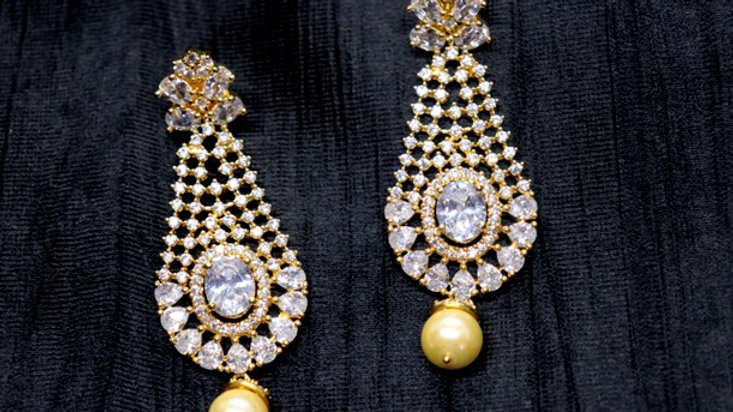 American Diamond Earrings studded with pearl as dangler