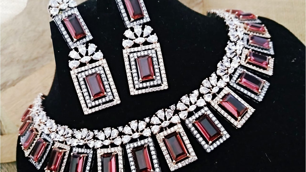 Ruby Red Beautiful American Diamond Necklace set with an year warranty