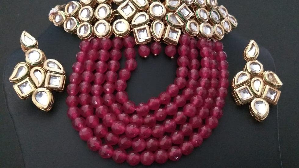 Premium quality Kundan Necklace set along with tumble stones