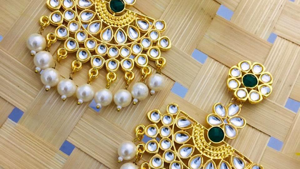 American Diamond Stone studded Open Kundan Earring/jhumki