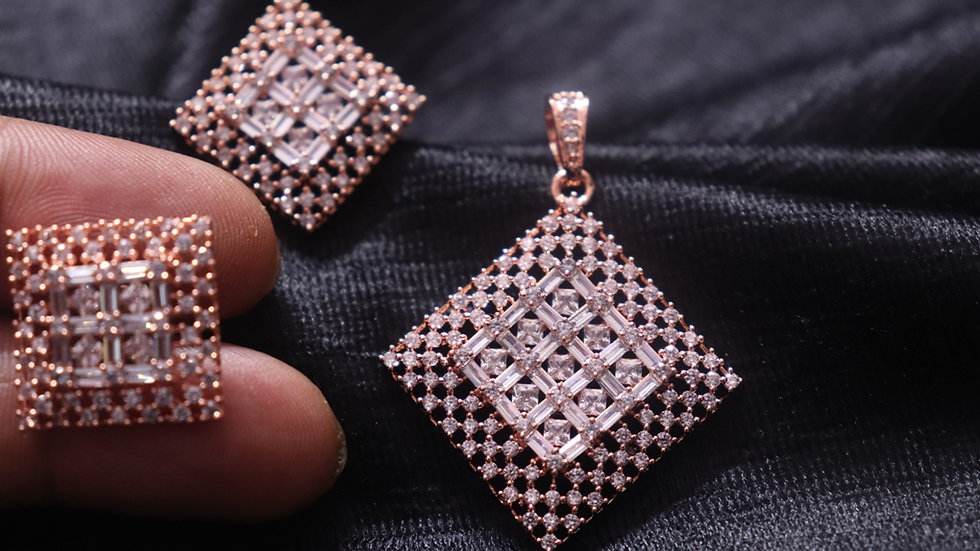 Cubic Zircon Pendant set with beautiful pair of earrings