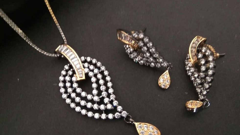American Diamond Pendant set with warranty