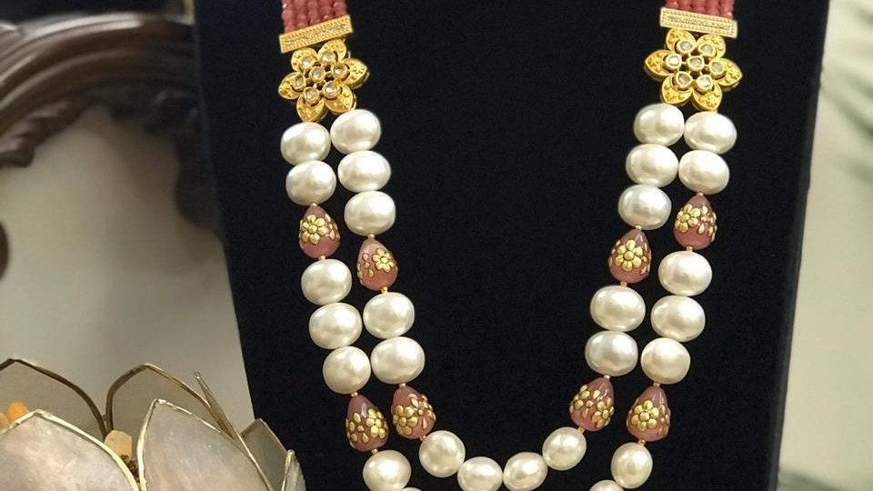 Beautiful Baroque Pearl Mala Set With Earrings