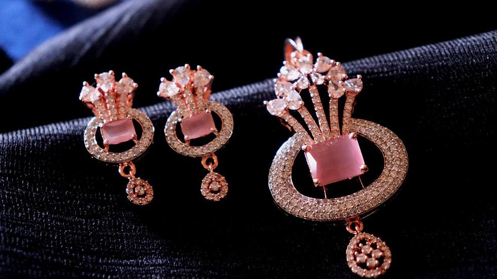 Pink coloured American diamond Pendant set with warranty