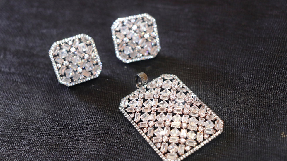 High quality American Diamond Pendant set,along with beautiful studs