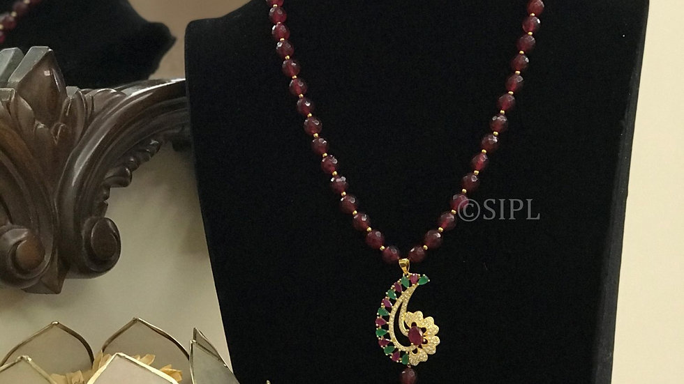 Amazing Gold Plated Light Weight Pendant Set With Ruby Monalisa Mala