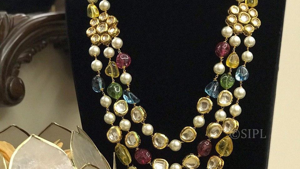 Stylish Rainbow Quartz Kundan Fusion Necklace