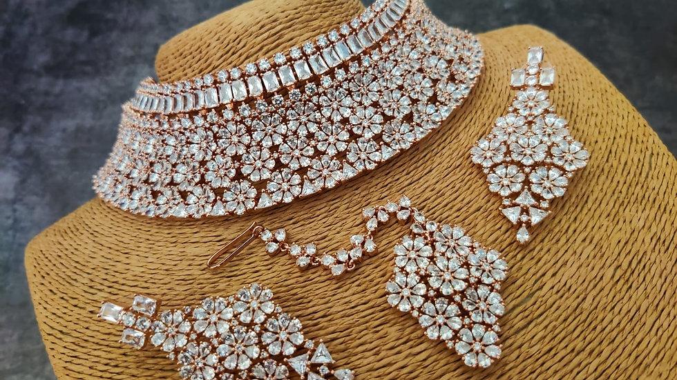 Premium quality American Diamond Necklace set along with Mangtika
