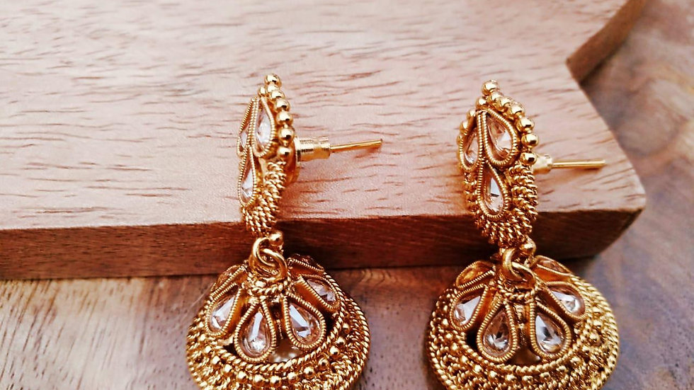 Gold plated Jhumki with warranty