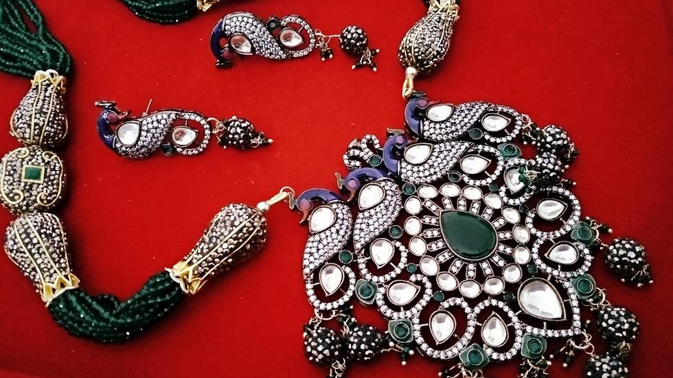 Peacock Designed Black finish American Diamond Necklace set