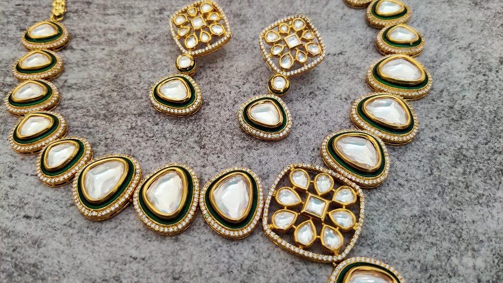 Premium quality Meenakari worked Kundan Necklace set