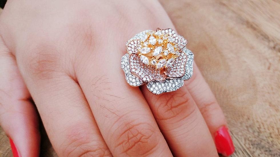 Rose shape designed American Diamond Finger ring with warranty