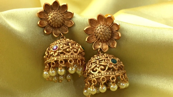 1 gram gold plated jhumki with Green and red studded stones
