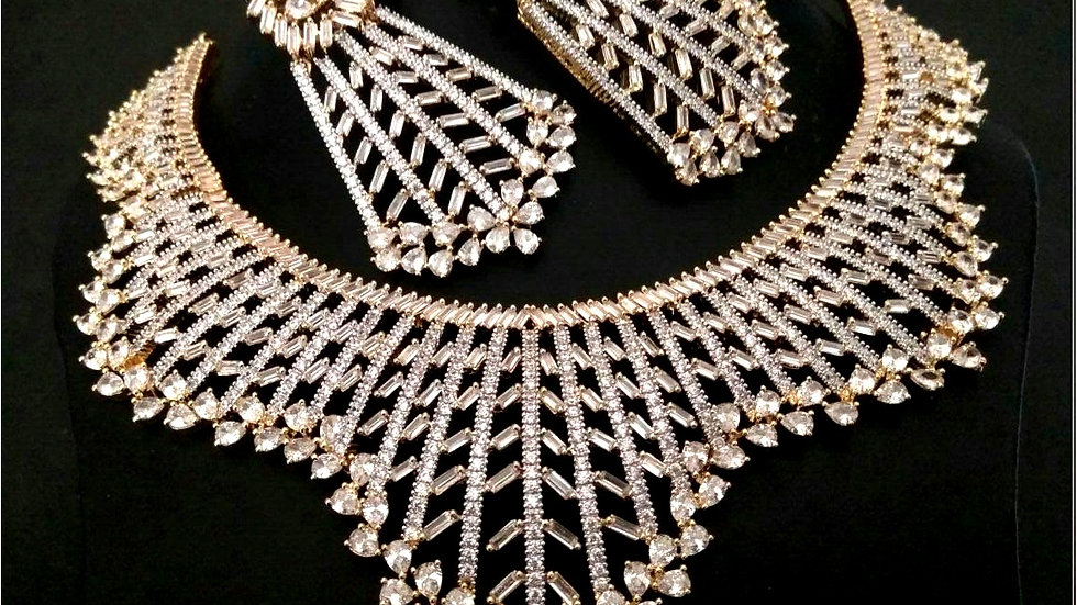 American diamond necklace set with warranty