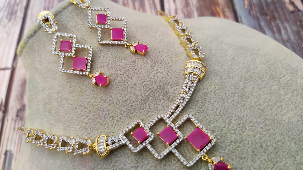 High quality American Diamond Necklace set-Red colour