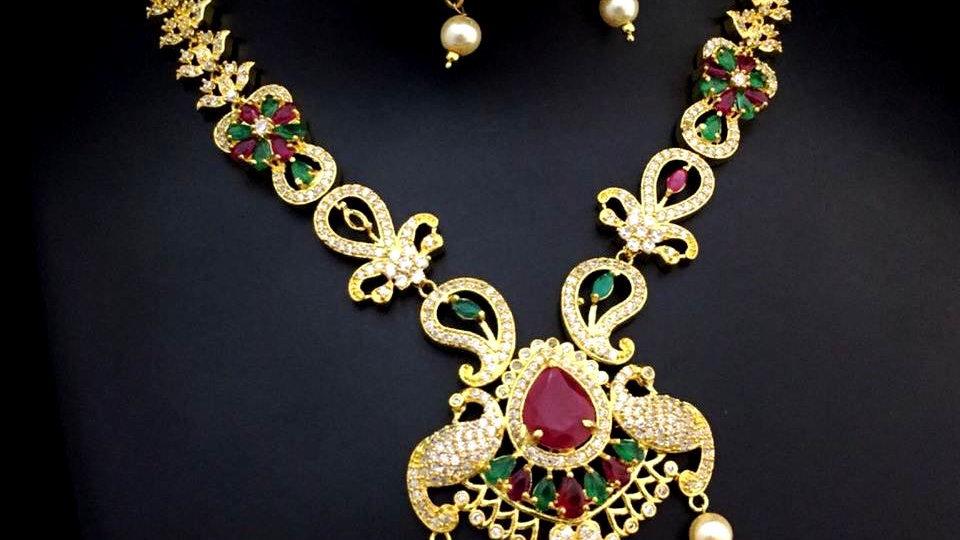 American Diamond+ Semi Precious Stones Necklace set