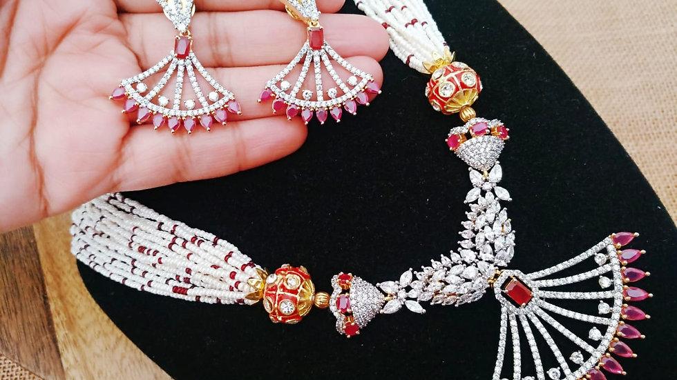 Elegant american diamond set with warranty