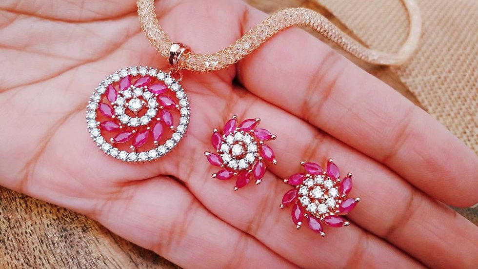 Small and Elegant red coloured American Diamond Pendant set