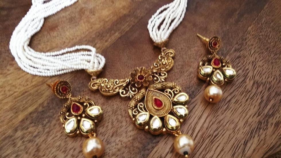 American Diamond and Kundan Stone Studded Necklace set