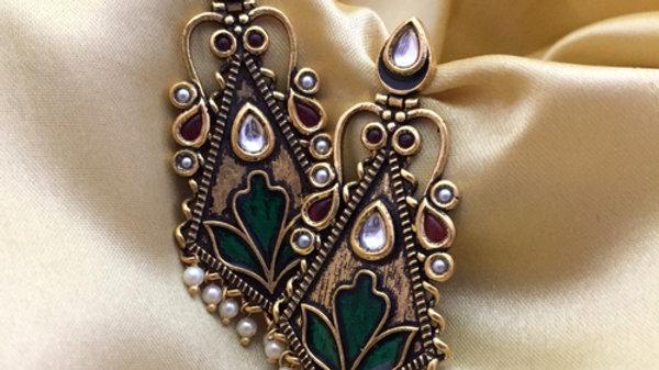Beautiful Dangler made of Brass+ Semi Precious Stone ,with Flower Design
