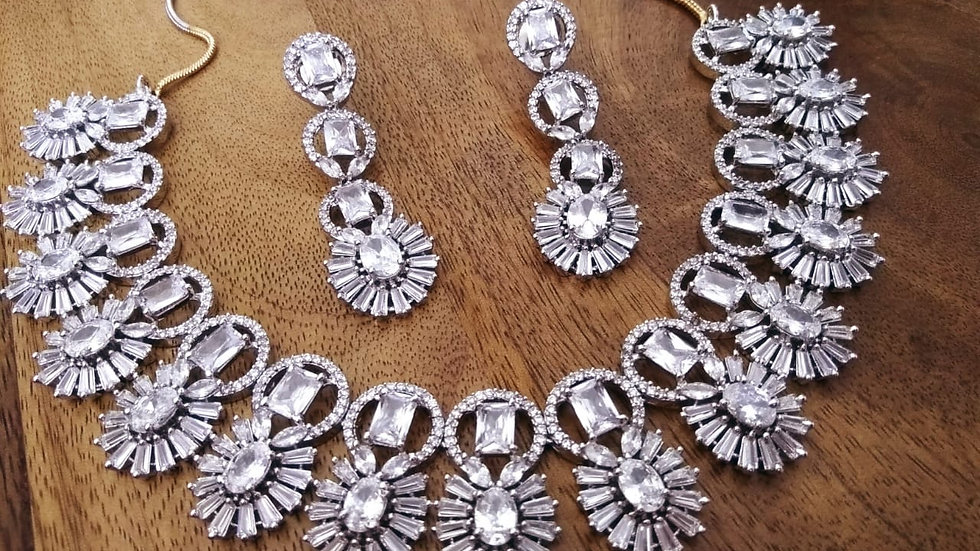 American Diamond Necklace set with warranty- Elegant and Stylish