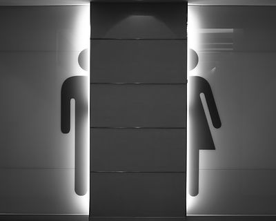 Men and women symbol as concept background - toilet signs - Restroom - Black and White