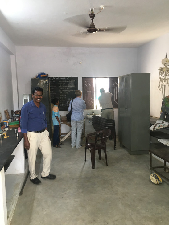 Science room before conversion to visitors quarters 2-2018 with Tamil Harrison local Trustee