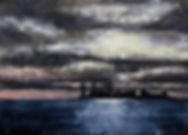 New York skyline by moonlight -acrylic -