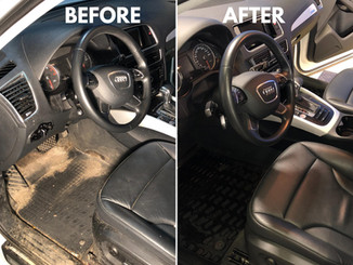 Before and after Audi Interior Detailing