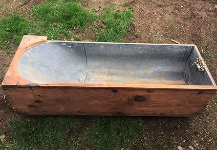 Antique Tin Wood Bath Tub and Hardware