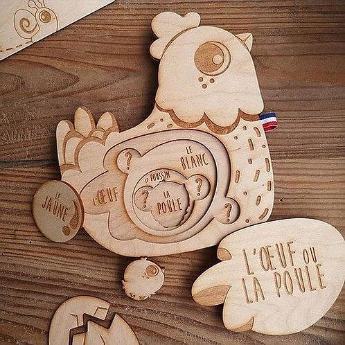 Puzzle en relief en bois